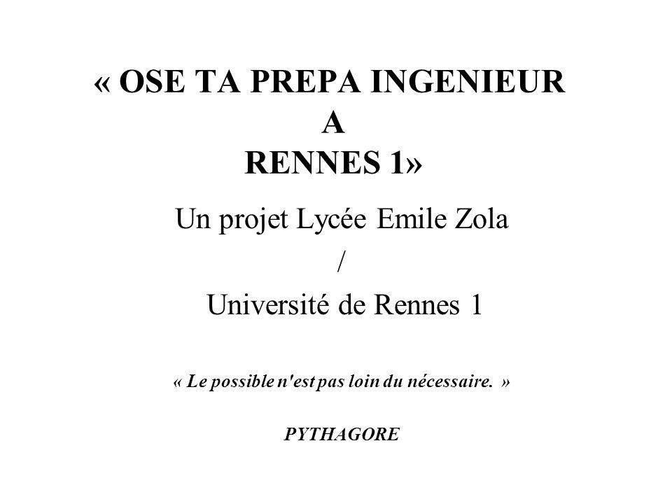 « OSE TA PREPA INGENIEUR A RENNES 1» Un projet Lycée Emile Zola / Université de Rennes 1 « Le possible n'est pas loin du nécessaire. » PYTHAGORE