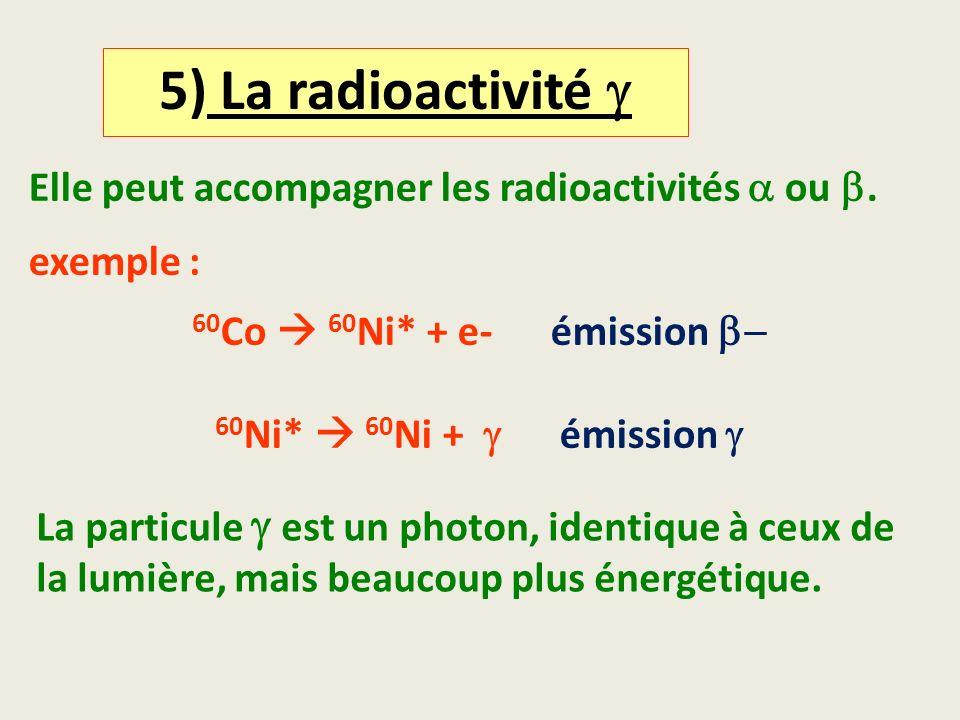 5) La radioactivité Elle peut accompagner les radioactivités ou. exemple : 60 Co 60 Ni* + e- émission 60 Ni* 60 Ni + émission La particule est un phot