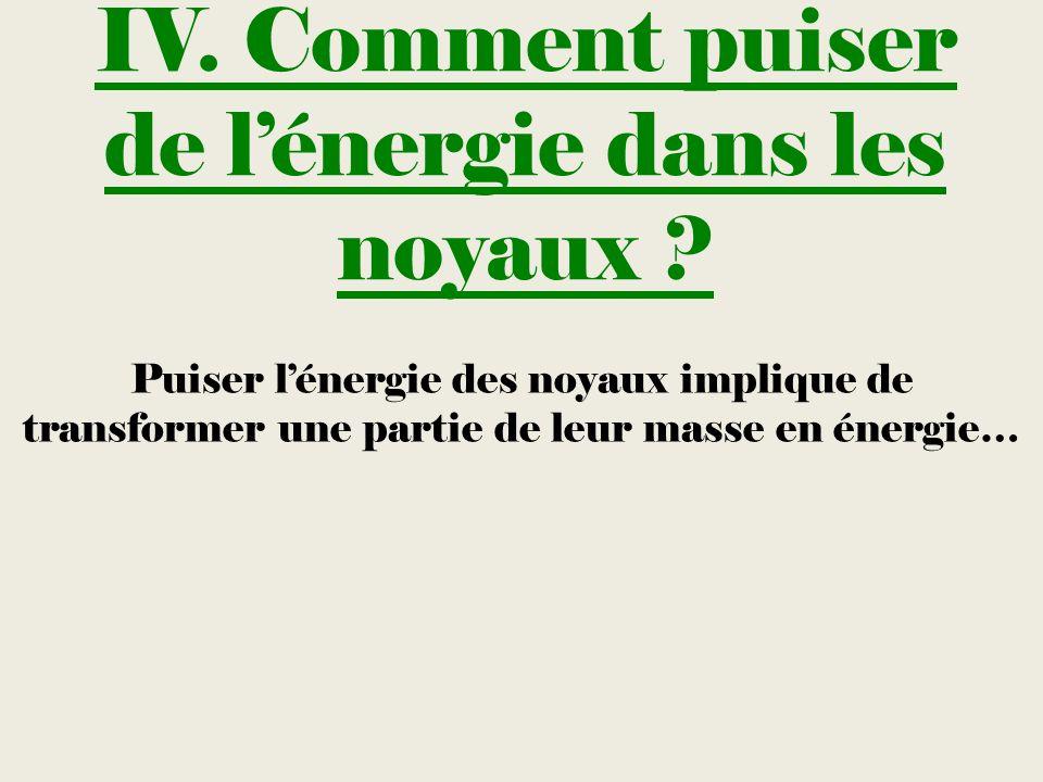 IV. Comment puiser de lénergie dans les noyaux ? Puiser lénergie des noyaux implique de transformer une partie de leur masse en énergie…