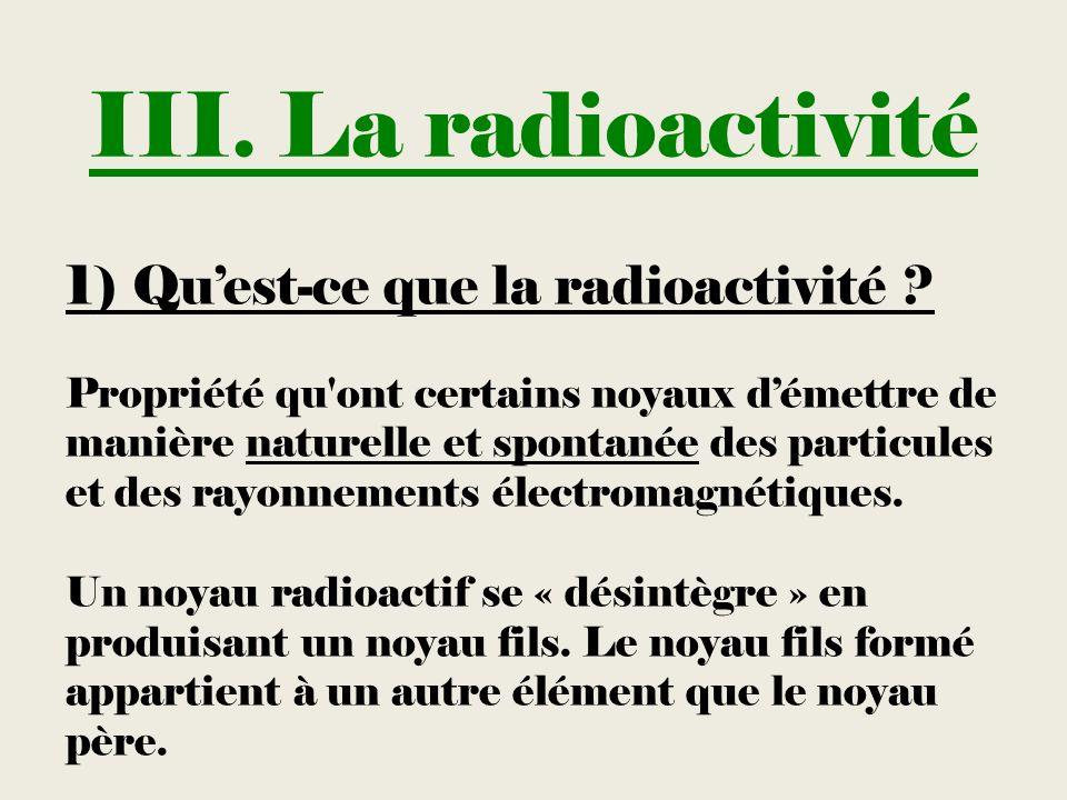 III. La radioactivité 1) Quest-ce que la radioactivité ? Propriété qu'ont certains noyaux démettre de manière naturelle et spontanée des particules et