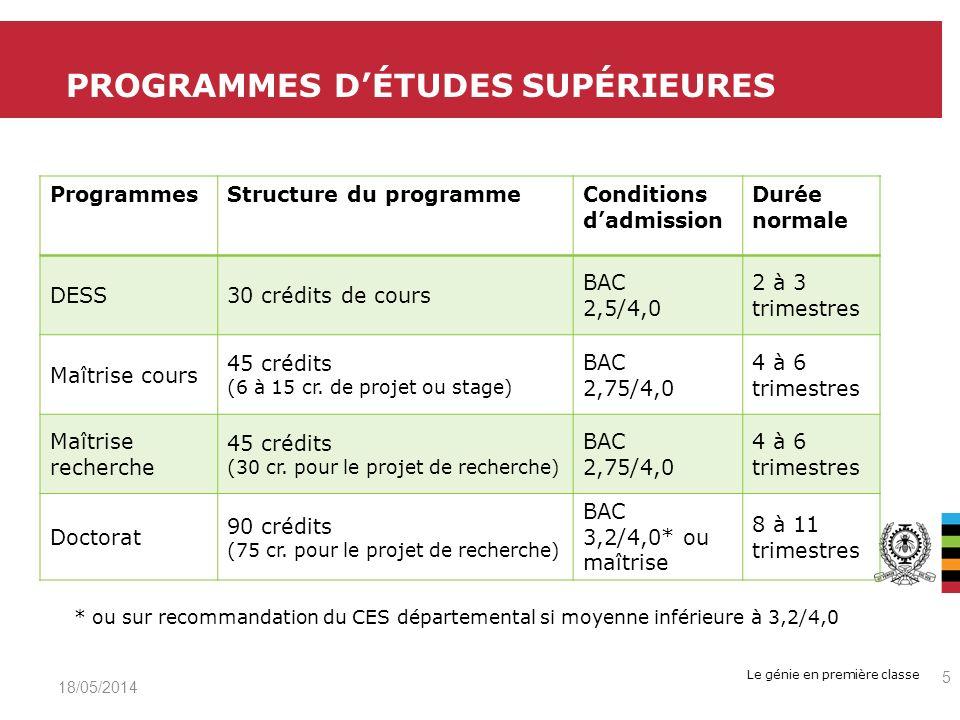 Le génie en première classe ProgrammesStructure du programmeConditions dadmission Durée normale DESS30 crédits de cours BAC 2,5/4,0 2 à 3 trimestres Maîtrise cours 45 crédits (6 à 15 cr.