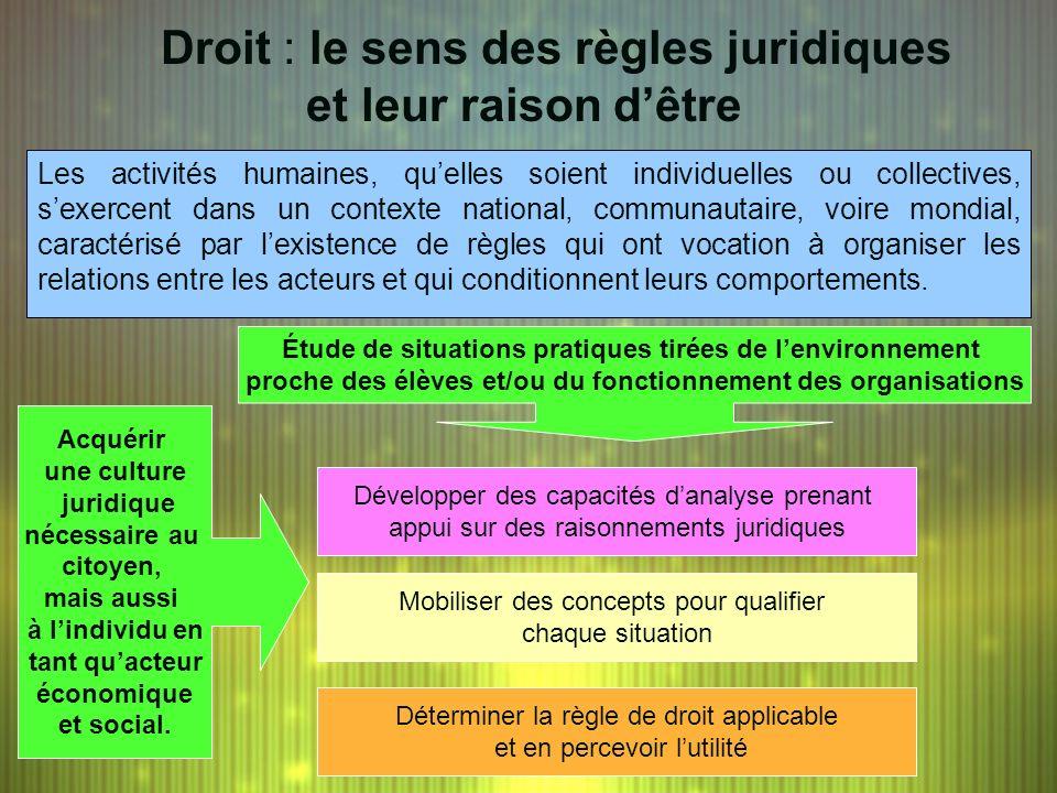Droit : le sens des règles juridiques et leur raison dêtre Les activités humaines, quelles soient individuelles ou collectives, sexercent dans un cont