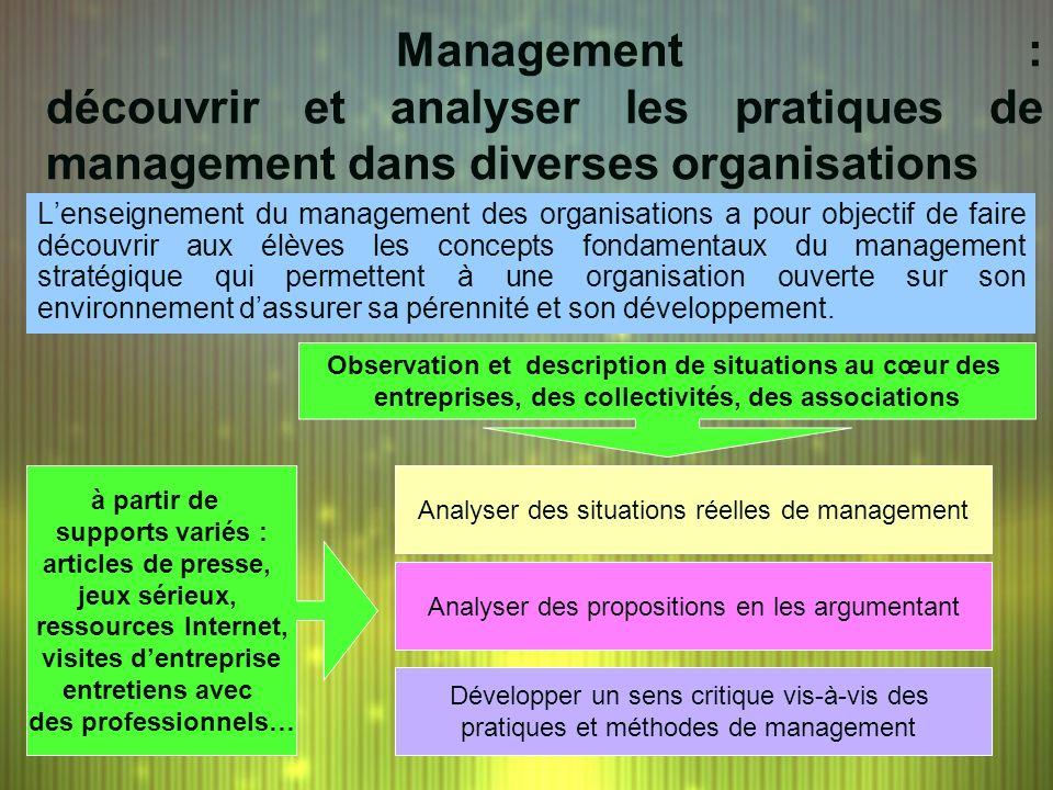 Management : découvrir et analyser les pratiques de management dans diverses organisations Observation et description de situations au cœur des entrep