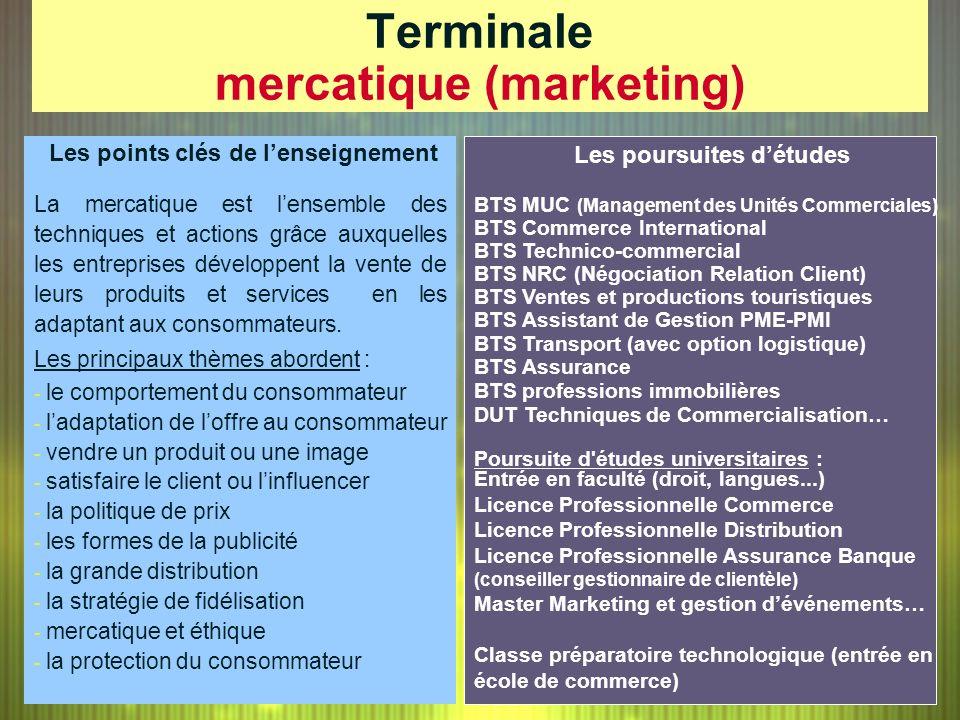 Terminale mercatique (marketing) Les poursuites détudes BTS MUC (Management des Unités Commerciales) BTS Commerce International BTS Technico-commercia