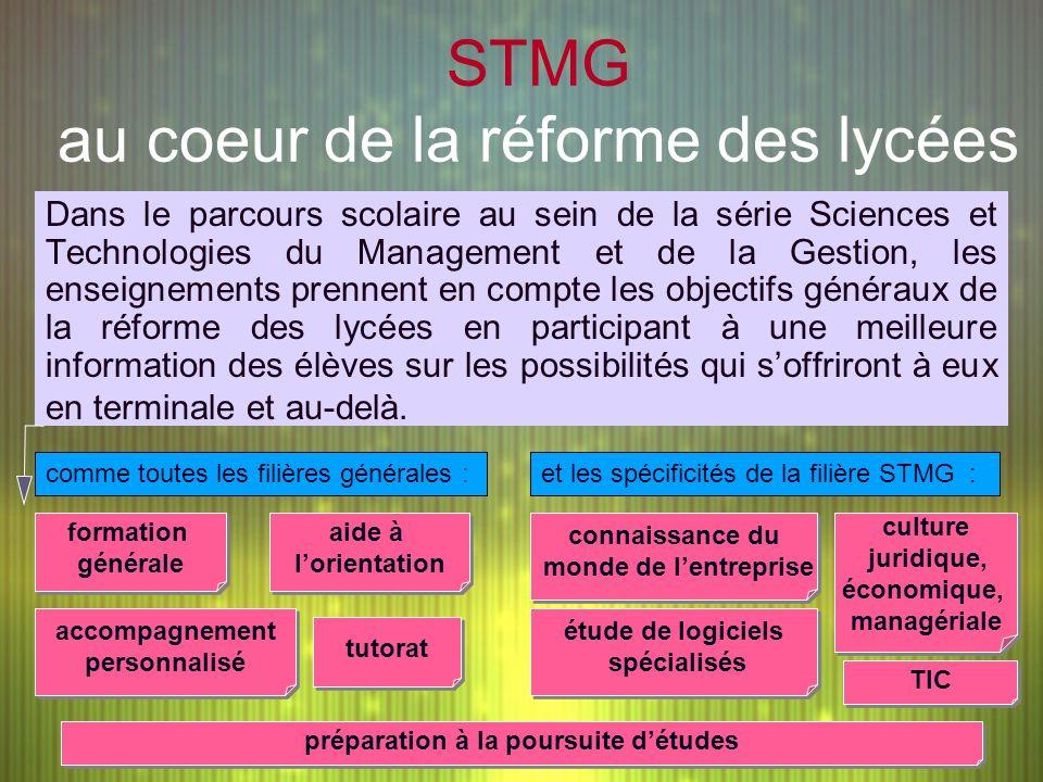 STMG au coeur de la réforme des lycées Dans le parcours scolaire au sein de la série Sciences et Technologies du Management et de la Gestion, les ense