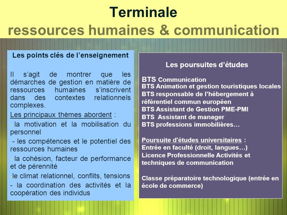 Terminale ressources humaines & communication Les points clés de lenseignement Il sagit de montrer que les démarches de gestion en matière de ressourc