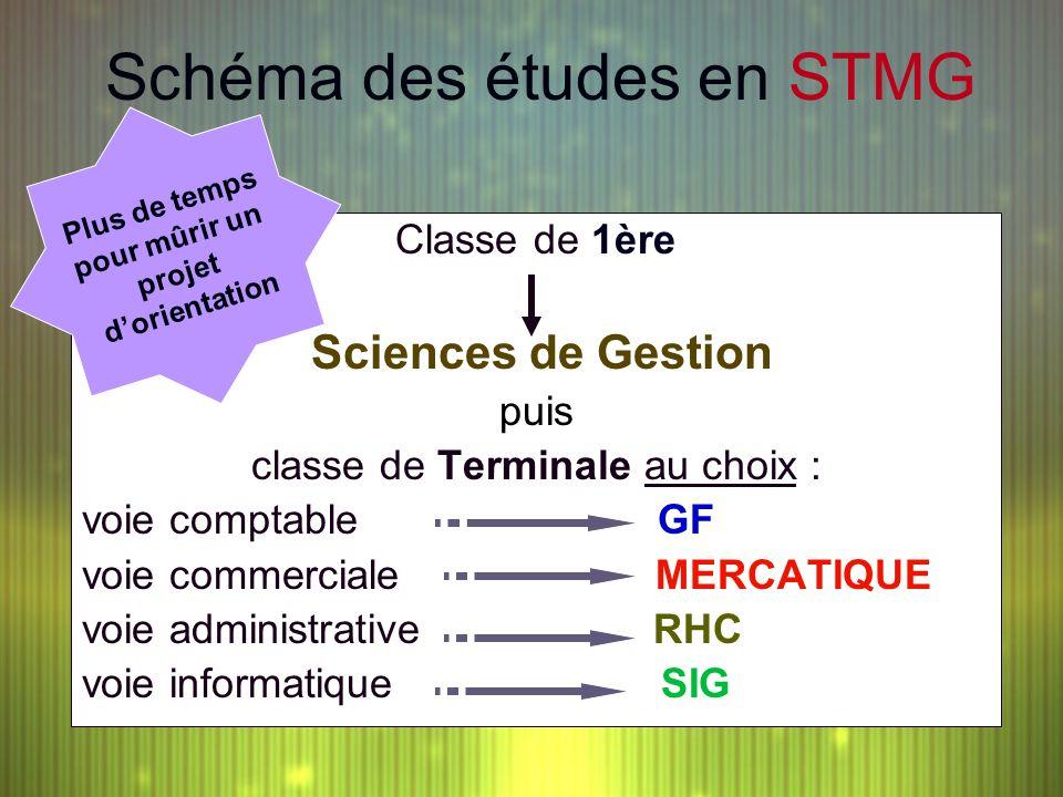 Schéma des études en STMG Classe de 1ère Sciences de Gestion puis classe de Terminale au choix : voie comptable GF voie commerciale MERCATIQUE voie ad