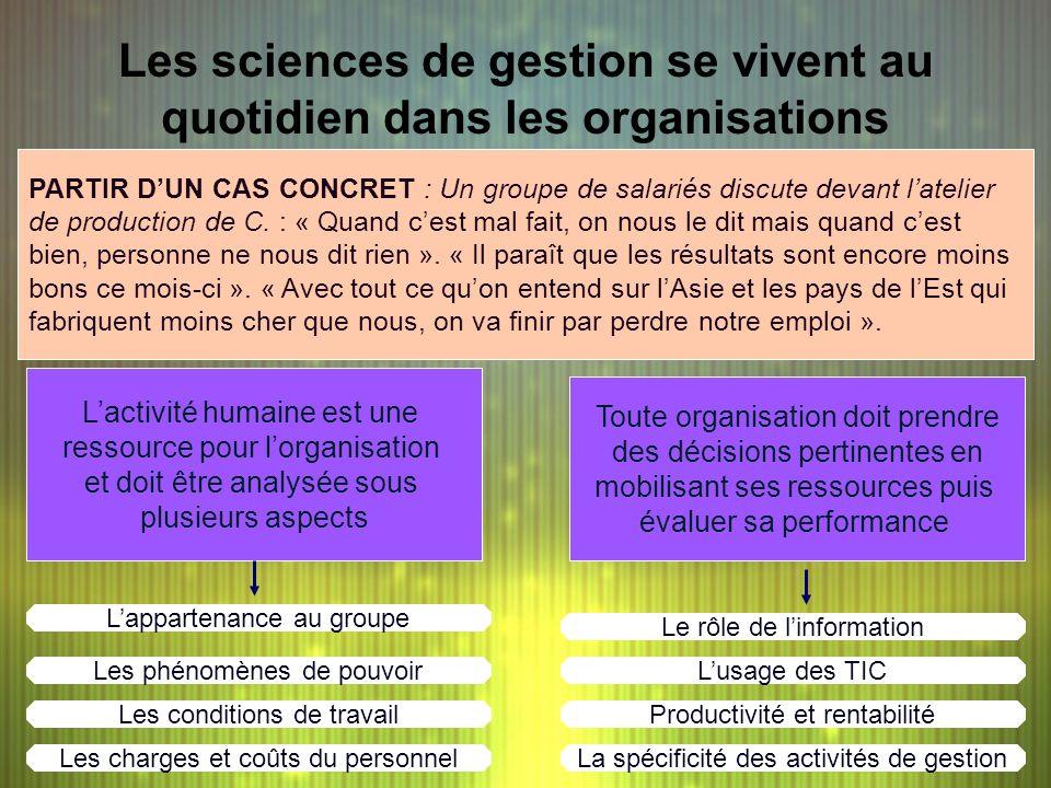 Les sciences de gestion se vivent au quotidien dans les organisations Toute organisation doit prendre des décisions pertinentes en mobilisant ses ress