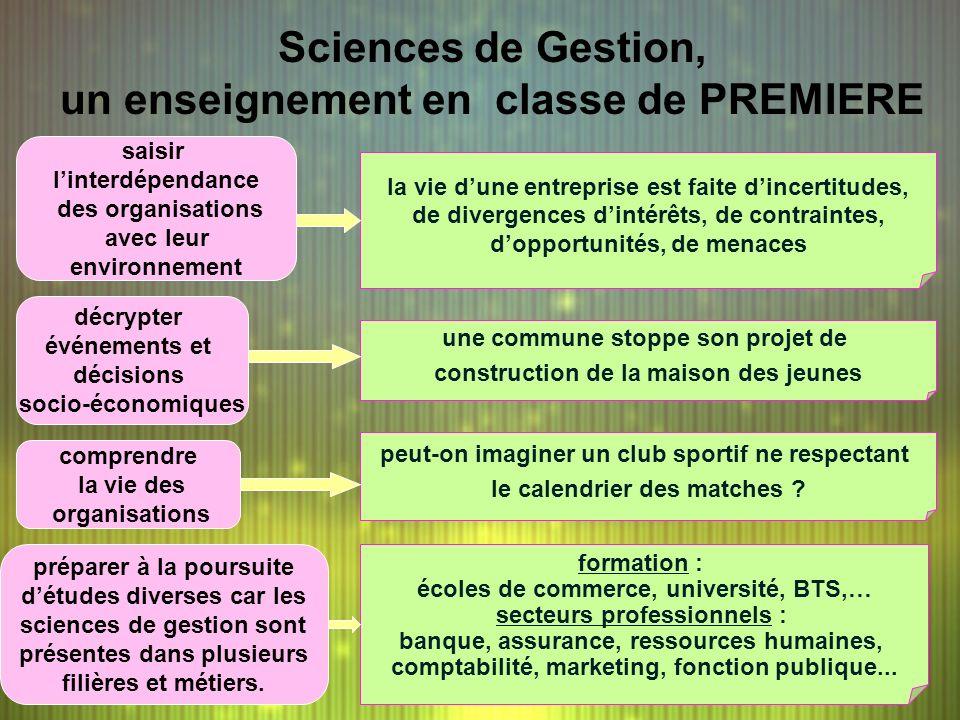 Sciences de Gestion, un enseignement en classe de PREMIERE comprendre la vie des organisations saisir linterdépendance des organisations avec leur env