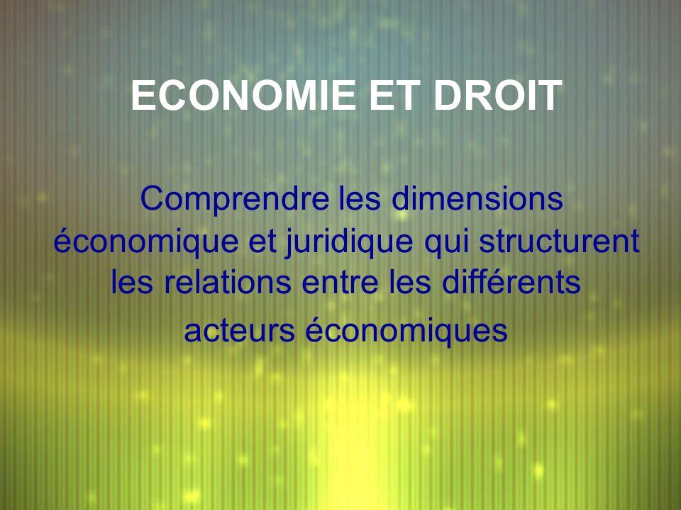 ECONOMIE ET DROIT Comprendre les dimensions économique et juridique qui structurent les relations entre les différents acteurs économiques