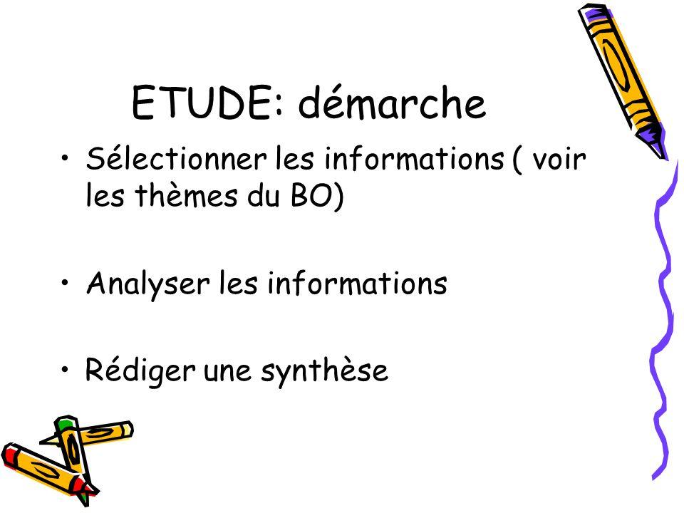 ETUDE: démarche Sélectionner les informations ( voir les thèmes du BO) Analyser les informations Rédiger une synthèse