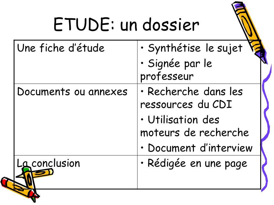 ETUDE: un dossier Une fiche détude Synthétise le sujet Signée par le professeur Documents ou annexes Recherche dans les ressources du CDI Utilisation