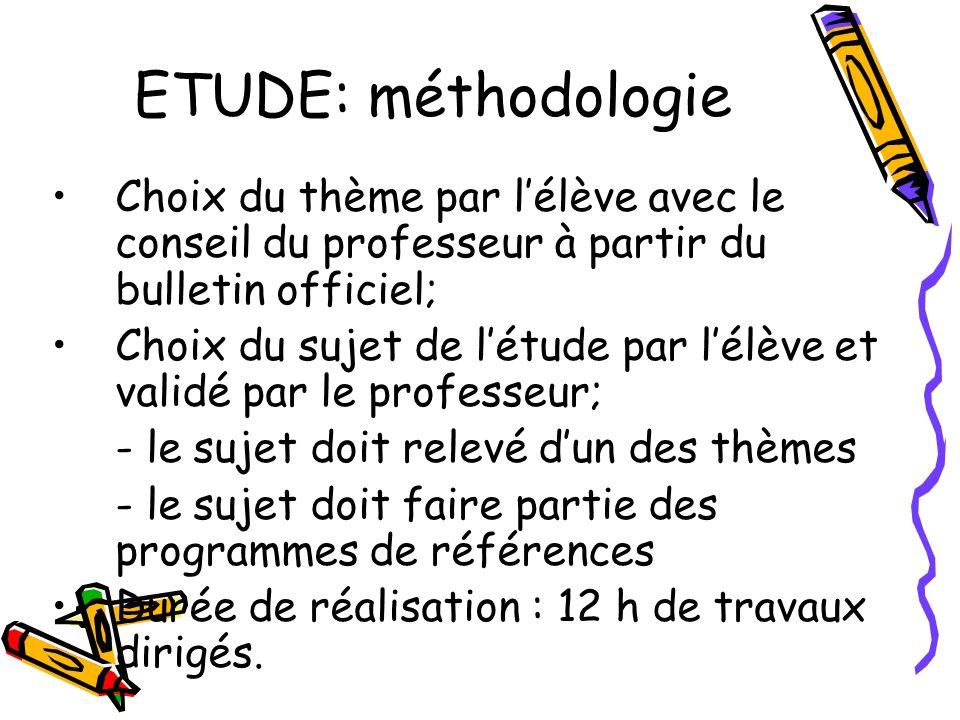 ETUDE: méthodologie Choix du thème par lélève avec le conseil du professeur à partir du bulletin officiel; Choix du sujet de létude par lélève et vali