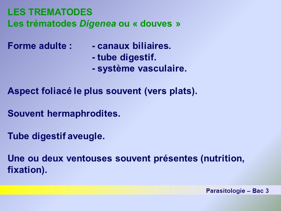 LES TREMATODES Les trématodes Digenea ou « douves » Cycle général des trématodes digénéiques Ver adulte (chez un vertébré) MétacercaireŒuf (chez un vertébré, invertébré ou sur la végétation) Miracidium (nage libre, cilié, taches oculaires souvent présentes) Cercaire (nage libre, stade infectant) Sporocyste et/ou rédie (reproduction asexuée chez un mollusque) Parasitologie – Bac 3