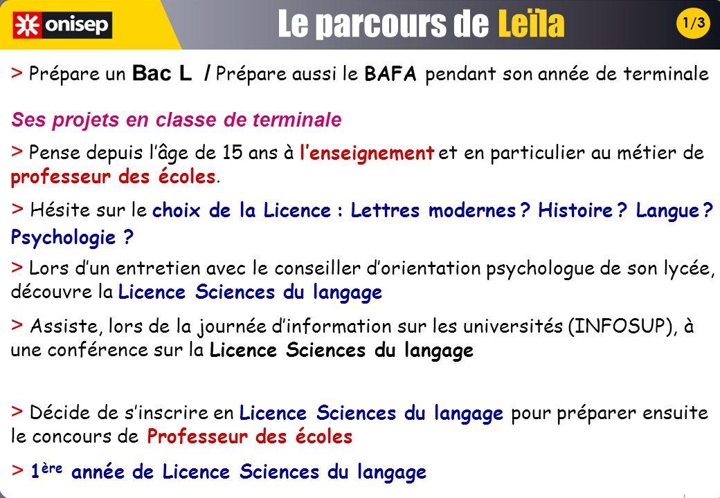 1/3 > Prépare un Bac L / Prépare aussi le BAFA pendant son année de terminale > Pense depuis lâge de 15 ans à lenseignement et en particulier au métier de professeur des écoles.