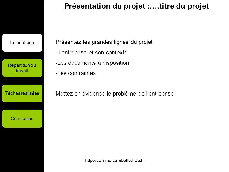 http://corinne.zambotto.free.fr Présentation du projet :….titre du projet Le contexte Répartition du travail Tâches réalisées Conclusion Présentez les