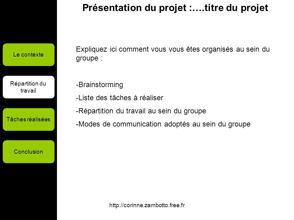 http://corinne.zambotto.free.fr Présentation du projet :….titre du projet Le contexte Répartition du travail Tâches réalisées Conclusion Expliquez ici