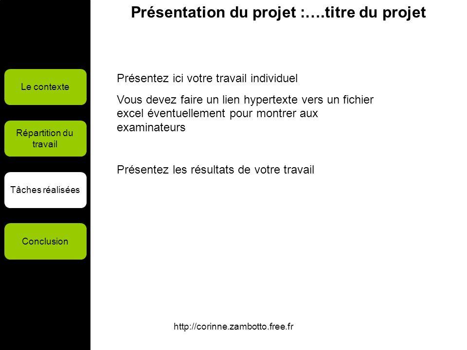 http://corinne.zambotto.free.fr Présentation du projet :….titre du projet Le contexte Répartition du travail Tâches réalisées Conclusion Présentez ici
