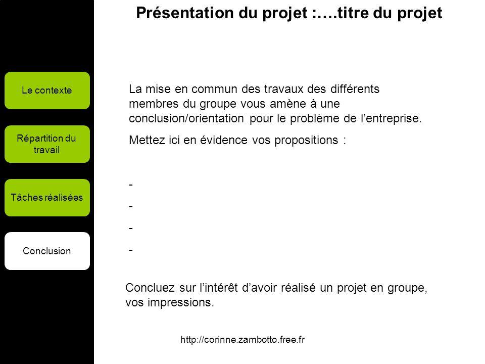 http://corinne.zambotto.free.fr Présentation du projet :….titre du projet Le contexte Répartition du travail Tâches réalisées Conclusion La mise en co