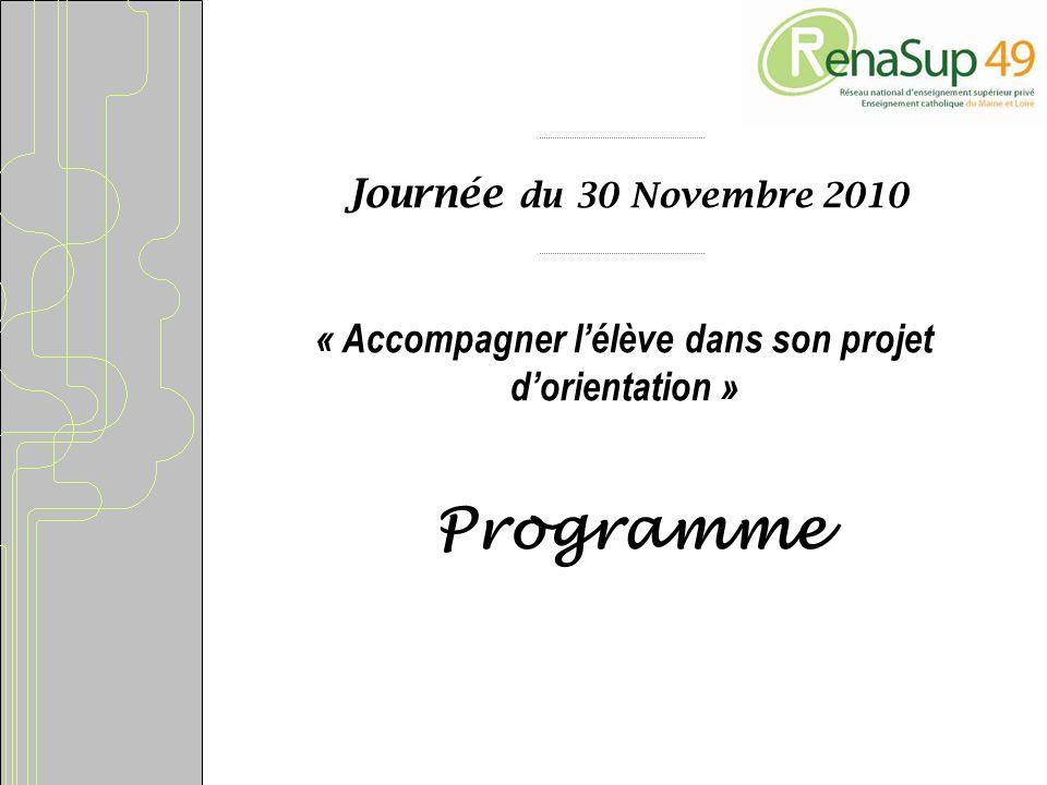 Journée du 30 Novembre 2010 « Accompagner lélève dans son projet dorientation » Programme