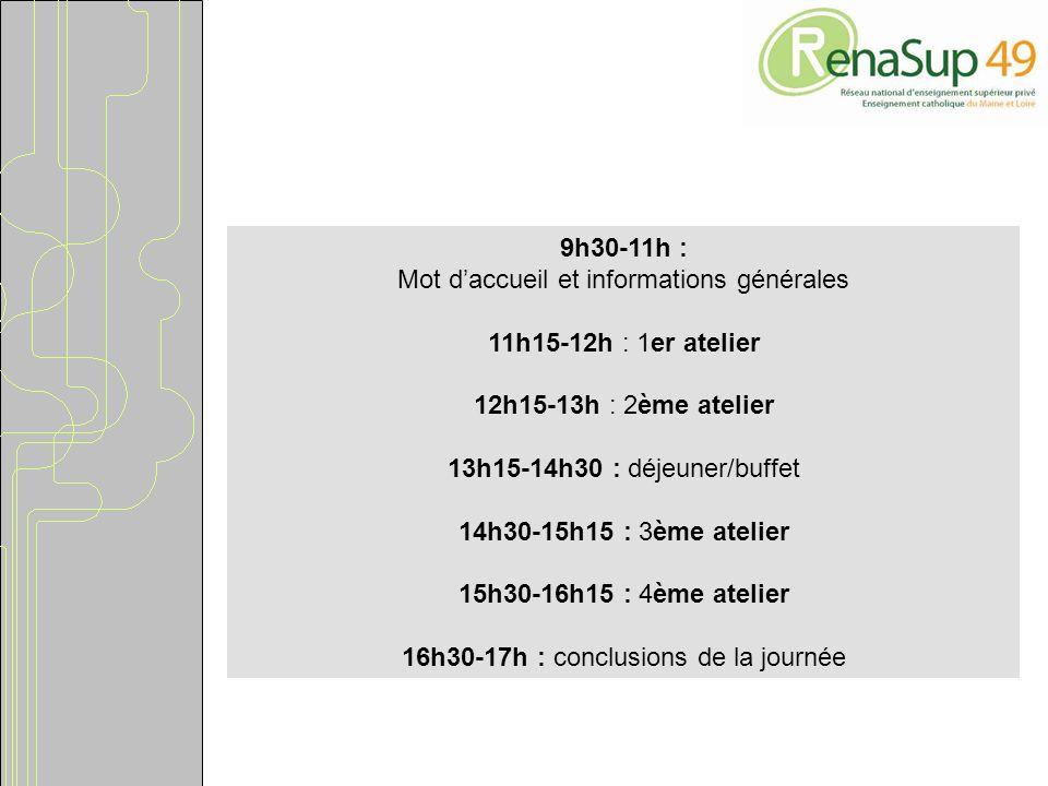 9h30-11h : Mot daccueil et informations générales 11h15-12h : 1er atelier 12h15-13h : 2ème atelier 13h15-14h30 : déjeuner/buffet 14h30-15h15 : 3ème atelier 15h30-16h15 : 4ème atelier 16h30-17h : conclusions de la journée