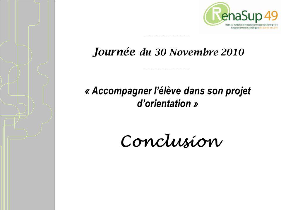 Journée du 30 Novembre 2010 « Accompagner lélève dans son projet dorientation » Conclusion