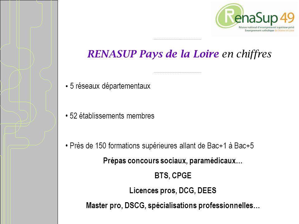 RENASUP Pays de la Loire en chiffres 5 réseaux départementaux 52 établissements membres Près de 150 formations supérieures allant de Bac+1 à Bac+5 Prépas concours sociaux, paramédicaux… BTS, CPGE Licences pros, DCG, DEES Master pro, DSCG, spécialisations professionnelles…
