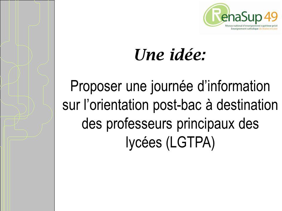 Une idée: Proposer une journée dinformation sur lorientation post-bac à destination des professeurs principaux des lycées (LGTPA)