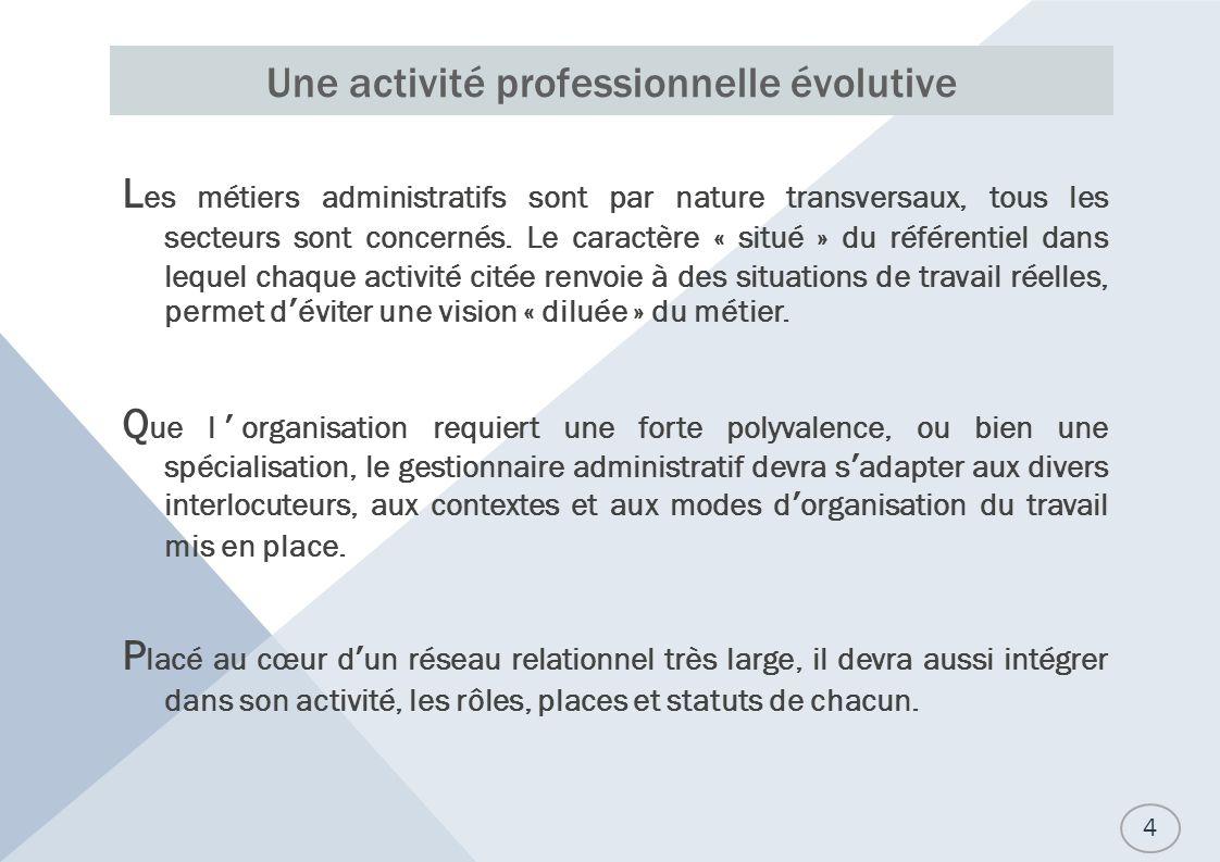 Une activité professionnelle évolutive L es métiers administratifs sont par nature transversaux, tous les secteurs sont concernés.