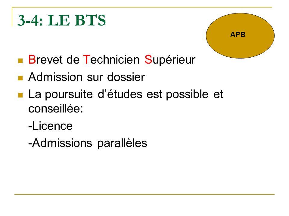 3-4: LE BTS Brevet de Technicien Supérieur Admission sur dossier La poursuite détudes est possible et conseillée: -Licence -Admissions parallèles APB