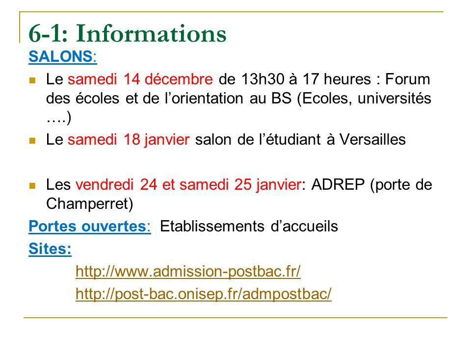 6-1: Informations SALONS: Le samedi 14 décembre de 13h30 à 17 heures : Forum des écoles et de lorientation au BS (Ecoles, universités ….) Le samedi 18 janvier salon de létudiant à Versailles Les vendredi 24 et samedi 25 janvier: ADREP (porte de Champerret) Portes ouvertes: Etablissements daccueils Sites: http://www.admission-postbac.fr/ http://post-bac.onisep.fr/admpostbac/