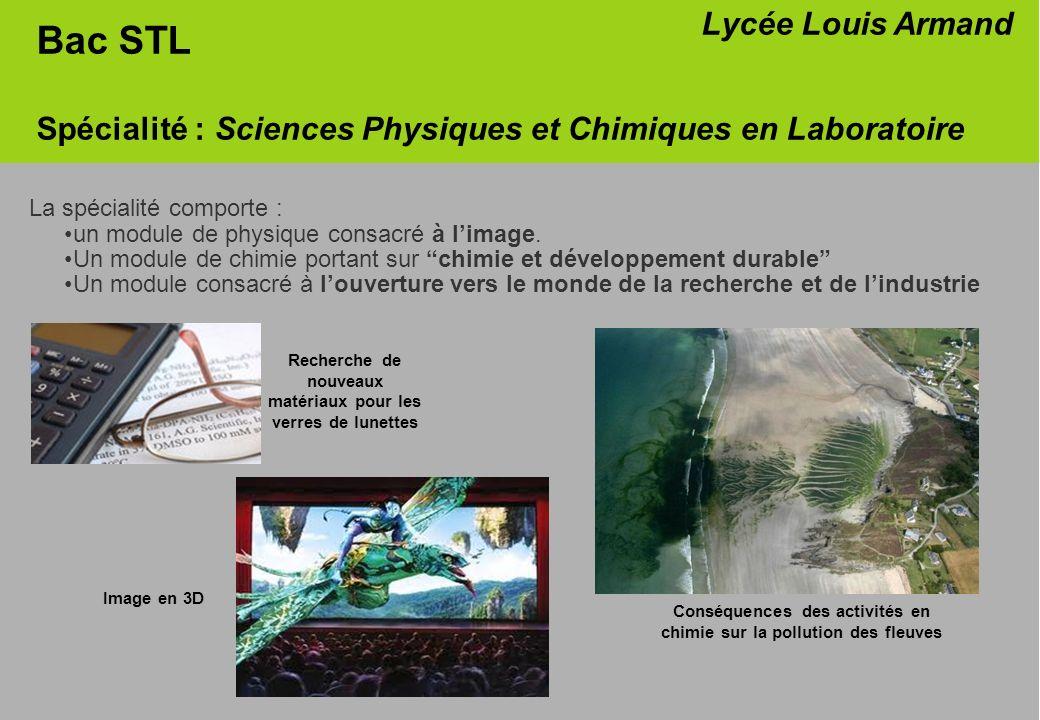 La spécialité comporte : un module de physique consacré à limage. Un module de chimie portant sur chimie et développement durable Un module consacré à