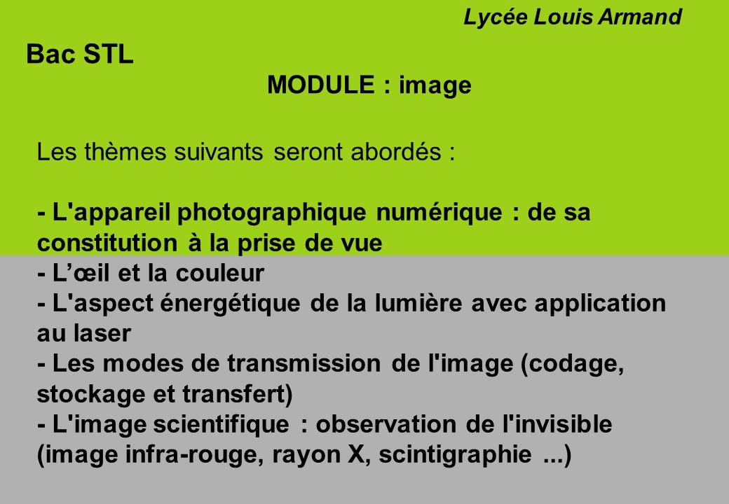 Bac STL MODULE : image Lycée Louis Armand Les thèmes suivants seront abordés : - L'appareil photographique numérique : de sa constitution à la prise d