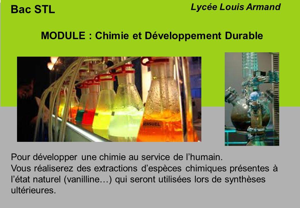 Bac STL MODULE : Chimie et Développement Durable Lycée Louis Armand Vous caractériserez les molécules synthétisées par différentes techniques danalyses physico-chimiques (CCM – spectrophotométrie UV et IR – RMN) De plus, vous allez acquérir les techniques de dosages et titrages que vous utiliserez en situation dautonomie (projet…)