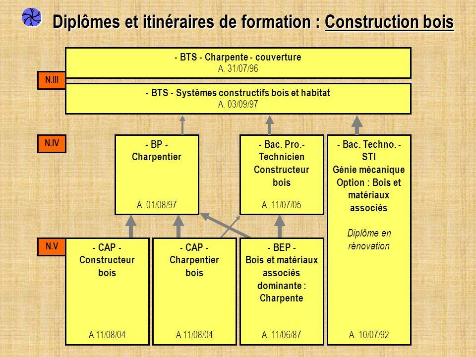 - CAP - Constructeur bois A.11/08/04 - CAP - Charpentier bois A.11/08/04 - BEP - Bois et matériaux associés dominante : Charpente A. 11/06/87 - Bac. P