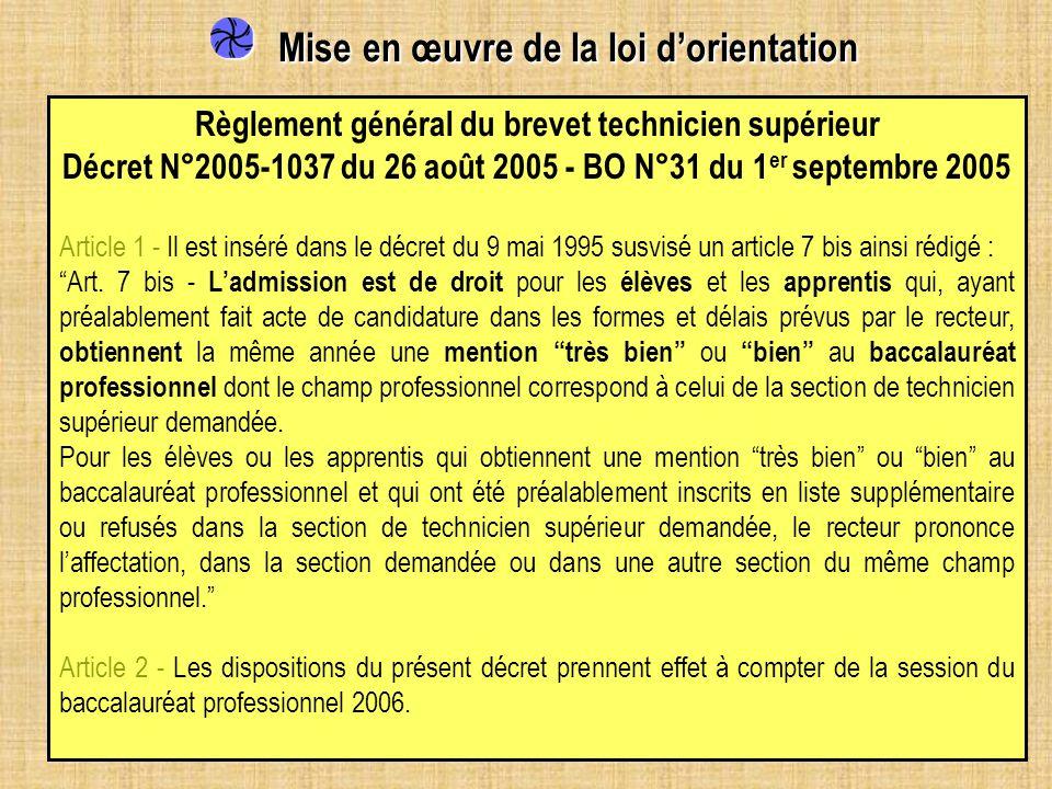 Mise en œuvre de la loi dorientation Mise en œuvre de la loi dorientation Règlement général du brevet technicien supérieur Décret N°2005-1037 du 26 ao