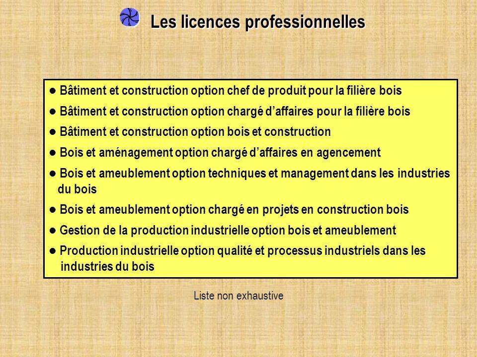 Les licences professionnelles Les licences professionnelles Bâtiment et construction option chef de produit pour la filière bois Bâtiment et construct