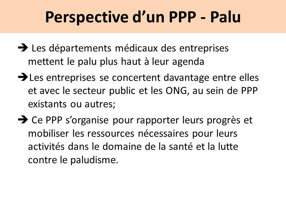 Perspective dun PPP - Palu Les départements médicaux des entreprises mettent le palu plus haut à leur agenda Les entreprises se concertent davantage e