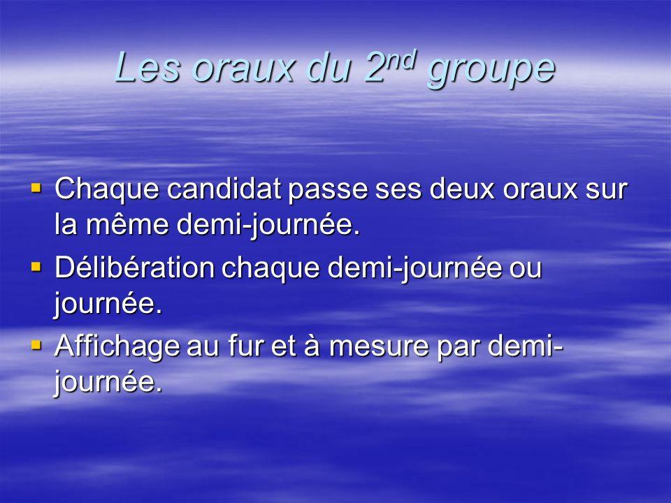 Les oraux du 2 nd groupe Chaque candidat passe ses deux oraux sur la même demi-journée. Chaque candidat passe ses deux oraux sur la même demi-journée.