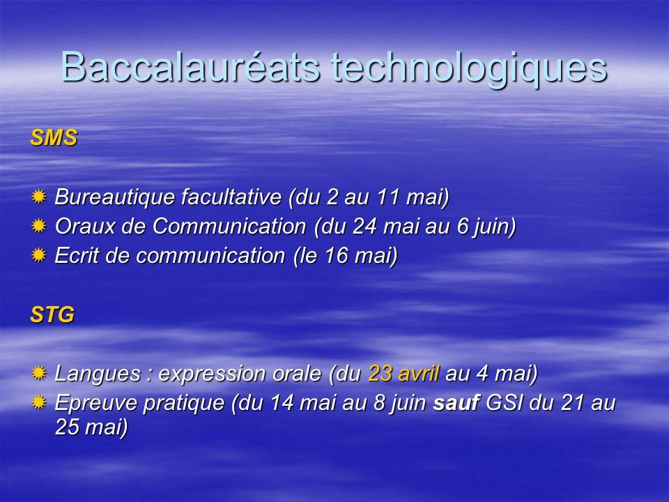 Baccalauréats technologiques SMS Bureautique facultative (du 2 au 11 mai) Bureautique facultative (du 2 au 11 mai) Oraux de Communication (du 24 mai a