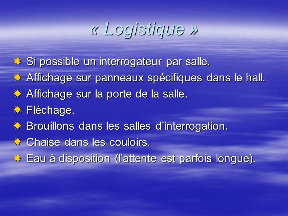 « Logistique » Si possible un interrogateur par salle. Si possible un interrogateur par salle. Affichage sur panneaux spécifiques dans le hall. Affich