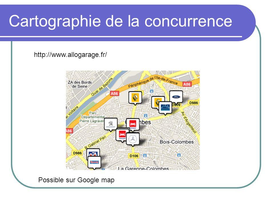 Cartographie de la concurrence http://www.allogarage.fr/ Possible sur Google map