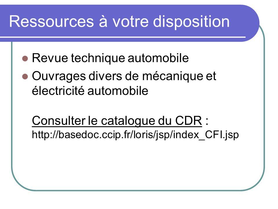 Ressources à votre disposition Revue technique automobile Ouvrages divers de mécanique et électricité automobile Consulter le catalogue du CDR : http://basedoc.ccip.fr/loris/jsp/index_CFI.jsp