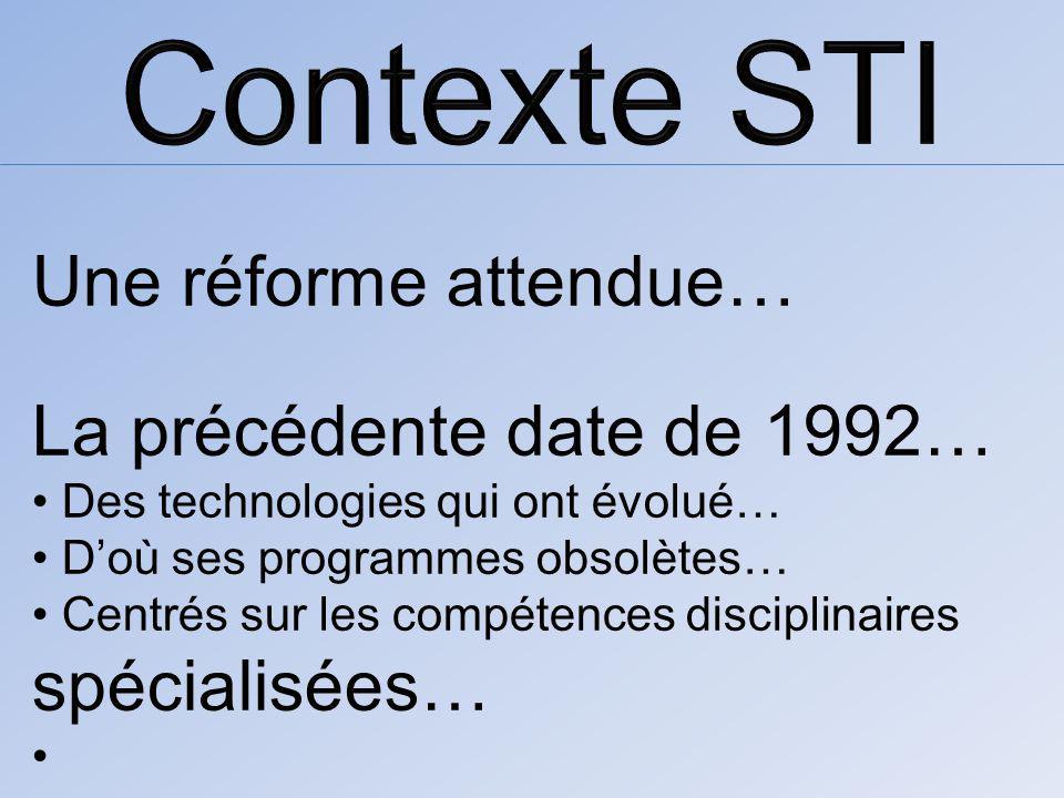 Une réforme attendue… La précédente date de 1992… Des technologies qui ont évolué… Doù ses programmes obsolètes… Centrés sur les compétences disciplinaires spécialisées…