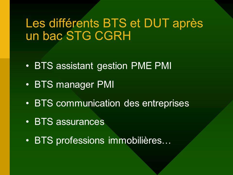 Les différents BTS et DUT après un bac STG CGRH BTS assistant gestion PME PMI BTS manager PMI BTS communication des entreprises BTS assurances BTS professions immobilières…