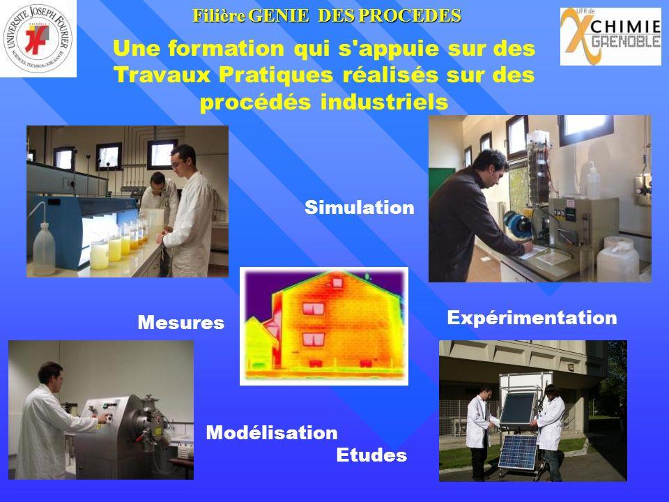 Une formation qui s'appuie sur des Travaux Pratiques réalisés sur des procédés industriels Modélisation Mesures Expérimentation Simulation Etudes Fili