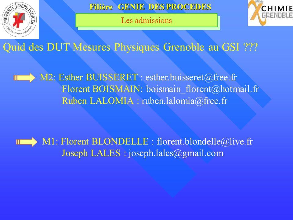 Filière GENIE DES PROCEDES Les admissions Quid des DUT Mesures Physiques Grenoble au GSI ??? M2: Esther BUISSERET : esther.buisseret@free.fr Florent B