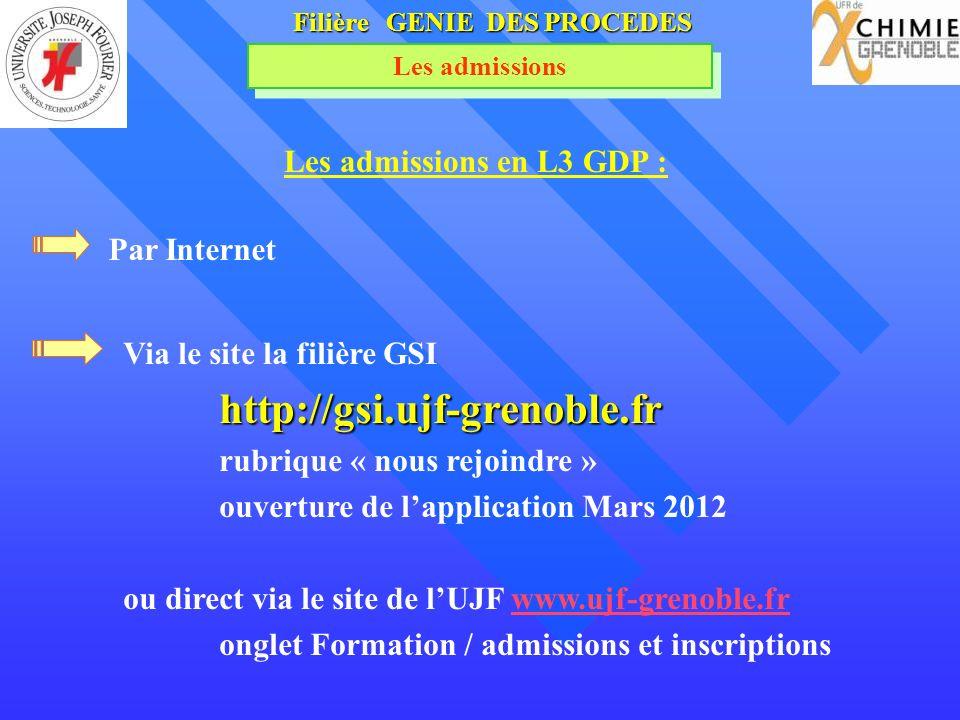 Filière GENIE DES PROCEDES Les admissions Les admissions en L3 GDP : Via le site la filière GSIhttp://gsi.ujf-grenoble.fr rubrique « nous rejoindre »