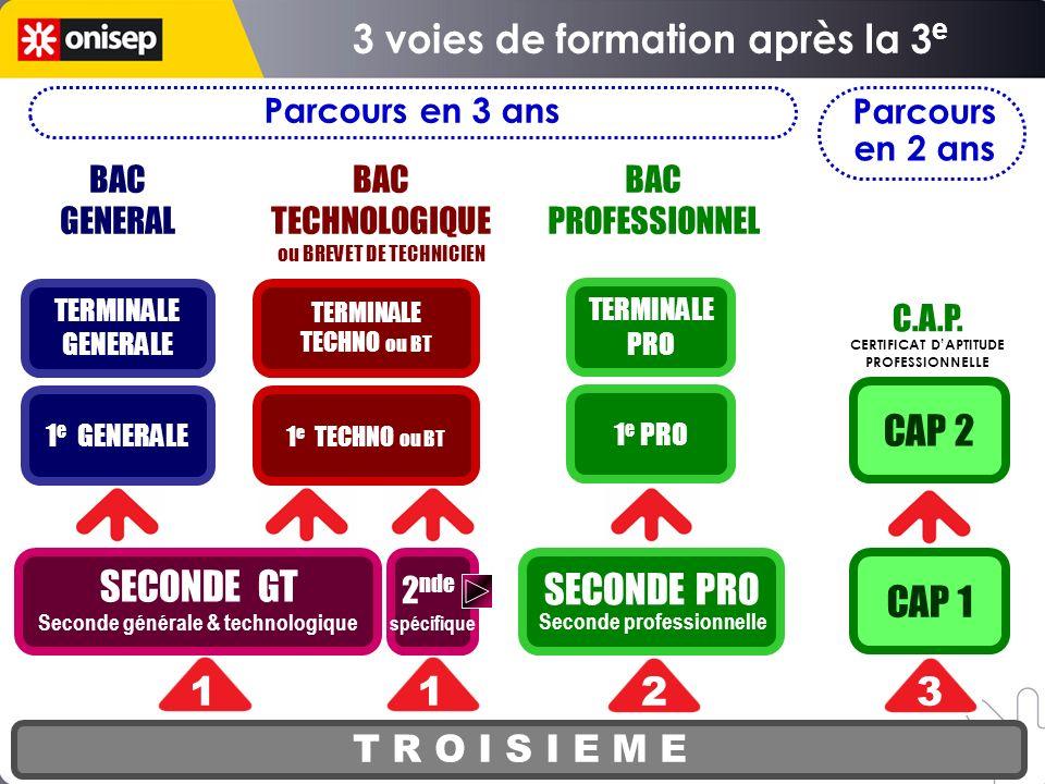 SECONDE PRO Seconde professionnelle T R O I S I E M E SECONDE GT Seconde générale & technologique 1 e PRO TERMINALE PRO CAP 1 CAP 2 123 BAC GENERAL BA