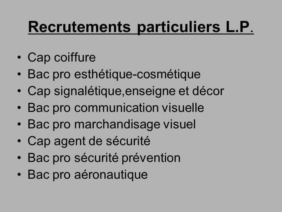 Recrutements particuliers L.P. Cap coiffure Bac pro esthétique-cosmétique Cap signalétique,enseigne et décor Bac pro communication visuelle Bac pro ma